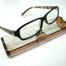 NEW BROWN BLACK ZEBRA ARM READING GLASSES & CASE +2.0