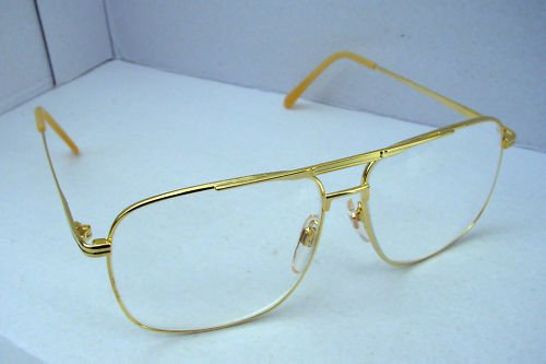 4 X SQUARE AVIATOR READING GLASSES GOLD METAL +1.0