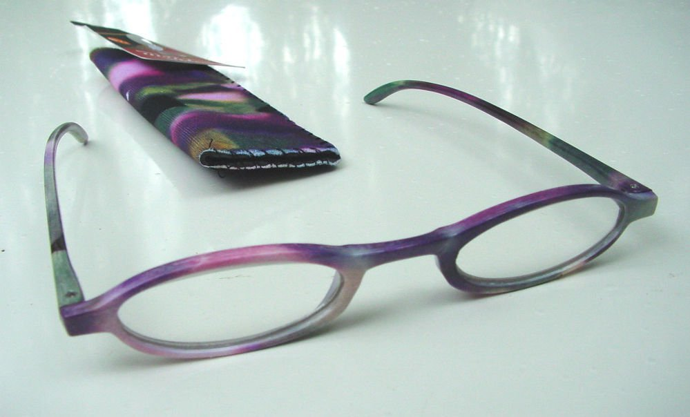 NEW FASHION READING GLASSES & MATCHING POUCH PURPLE PASTEL COLOURS +1.50