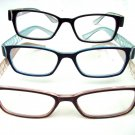 3 PAIRS OF COLOURED PATTERNED WAYFARER STYLE READING GLASSES & CASES +3.0 D532