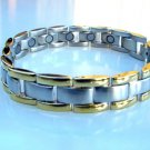 NEW MAGNETIC THERAPY MATT STAINLESS STEEL & GOLD METAL LINKS BRACELET UNISEX