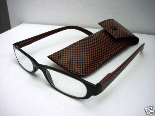 READING GLASSES BLACK/BROWN CHECK + CASE +3.0 D495