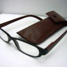 READING GLASSES BLACK/BROWN CHECK + CASE +3.0 D495
