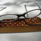 READING GLASSES BROWN & WHITE WITH CASE +3.0 D493 RETRO
