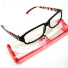 NEW RED BLACK ZEBRA ARM READING GLASSES & CASE +2.0