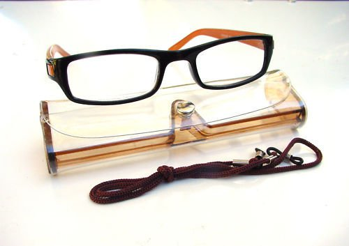 BLACK BROWN READING GLASSES WITH NECK CORD & CASE +1.5 D523
