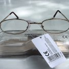 READING GLASSES GOLD METAL FRAMES + CASE + 2.5 TY102