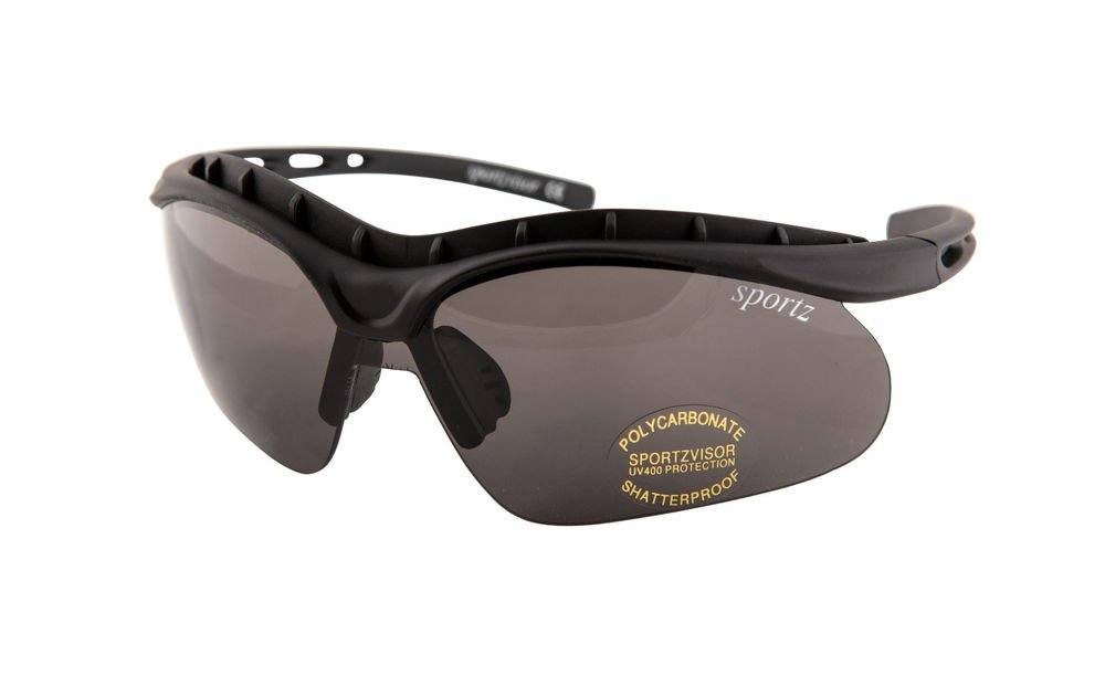 NEW BLACK SPORTZVISORS POLYCARBONATE SHATTERPROOF WRAP AROUND SPORTS GLASSES