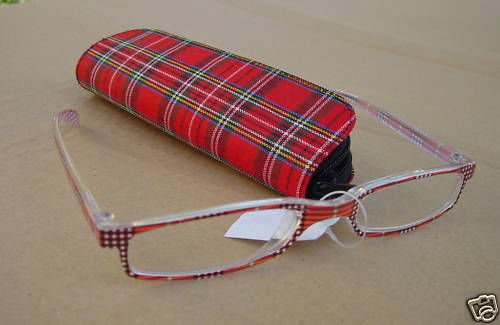 RED TARTAN CHECK READING GLASSES +1.0 PLUS CASE D507