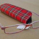 2 PAIRS RED TARTAN READING GLASSES +2.5 PLUS CASE D507