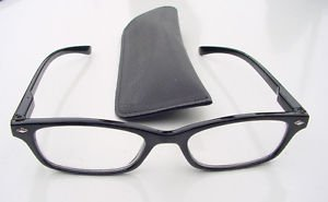 NARROW WAYFARER STYLE  READING GLASSES BLACK WITH POUCH +2.0