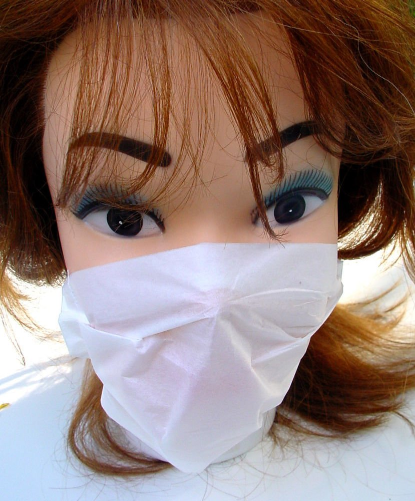NEW 240 x DISPOSABLE DUST FACE MASKS UNISEX WHITE 2-PLY PAPER CLEANING DIY MASK