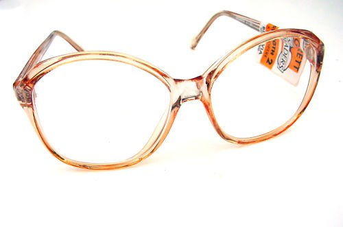LARGE READING GLASSES CLEAR PINK BROWN FRAMES +1.25