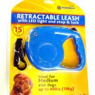 RETRACTABLE DOG LEAD WITH LED LIGHT & STOP & LOCK 15 FEET SM TO MED DOGS 19KG
