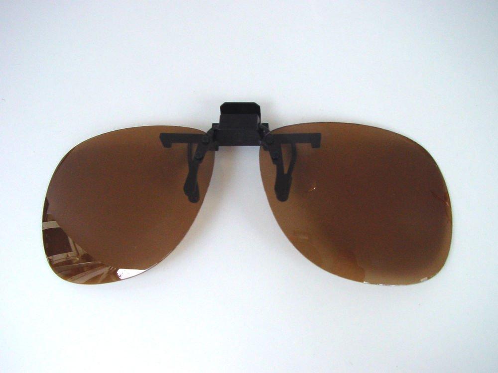 NEW 100% UV POLARISED CLIP ON GLASSES SUNGLASSES CAT 2 BROWN LENSES (L-C121)