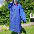 BLUE PVC VINYL (EVA) HOODED RAINCOAT MAC UNISEX REUSABLE FESTIVALS