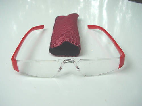 NEW RED RIMLESS READING GLASSES & POUCH +2.0 D512