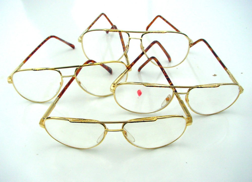 4 x QUALITY AVIATOR STYLE SPRUNG ARM READING GLASSES GOLD FRAME +1.0 premier M