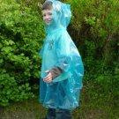 2 CHILDRENS WATERPROOF RAIN PONCHOS CAPE MAC FESTIVALS BLUE DISPOSABLE RAINCOAT