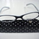 READING GLASSES BLACK & WHITE WITH CASE +3.0 D493 RETRO