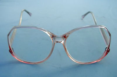 NEW FUNKY RETRO READING GLASSES CLEAR PINK FRAMES + 2.0