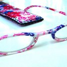 NEW FASHION READING GLASSES & MATCHING POUCH PINK PURPLE FLORAL DESIGN +1.0