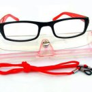 BLACK RED READING GLASSES WITH NECK CORD & CASE +2.5 D523