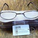 READING GLASSES GUNMETAL FRAMES + CASE  +2.50  TY102