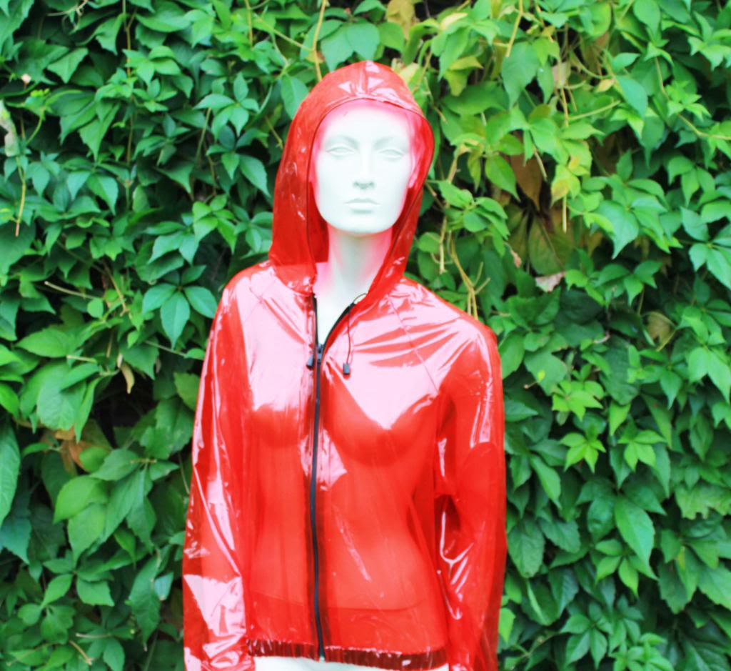 LUXURY QUALITY PVC FESTIVAL BOMBER JACKET RAINCOAT TRANSPARENT RED LARGE FR7