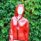 LUXURY QUALITY PVC FESTIVAL BOMBER JACKET RAINCOAT TRANSPARENT RED LARGE FR7