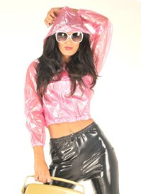 NEW TOP QUALITY PVC BOMBER JACKET STYLE FESTIVAL RAINCOAT CLEAR PINK EXTRA LARGE
