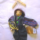 "BOY PUPPET MARIONETTE WITH HORN  9"" HIGH COLLECTABLE"