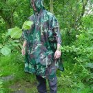NEW ADULT UNISEX PVC RAIN PONCHO CAPE HOODED REUSABLE CAMOUFLAGE PATTERN