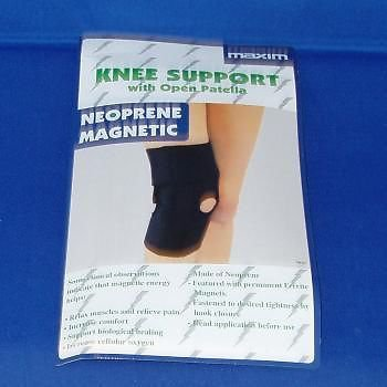 MAGNETIC BIO THERAPY ADJUSTABLE NEOPRENE OPEN PATELLA KNEE SUPPORT WRAP BLUE