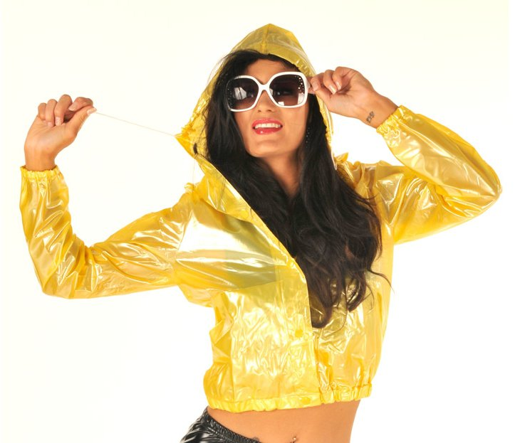 TOP QUALITY PVC BOMBER JACKET STYLE FESTIVAL RAINCOAT CLEAR YELLOW EXTRA LARGE