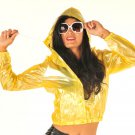 NEW TOP QUALITY PVC BOMBER JACKET STYLE FESTIVAL RAINCOAT CLEAR YELLOW SMALL