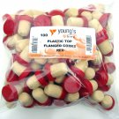 100 NEW CORKS FOR WINE WINEMAKING RED PLASTIC TOP FLANGED