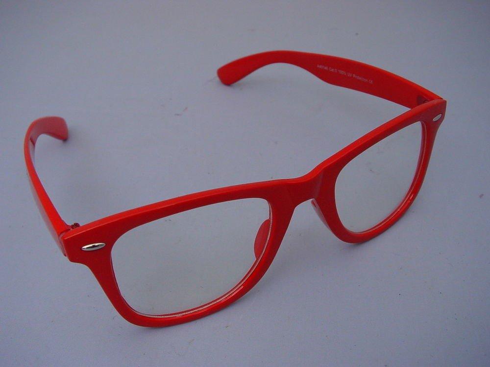 WAYFARER STYLE CLEAR GLASSES RED FRAMES  RETRO LOOK