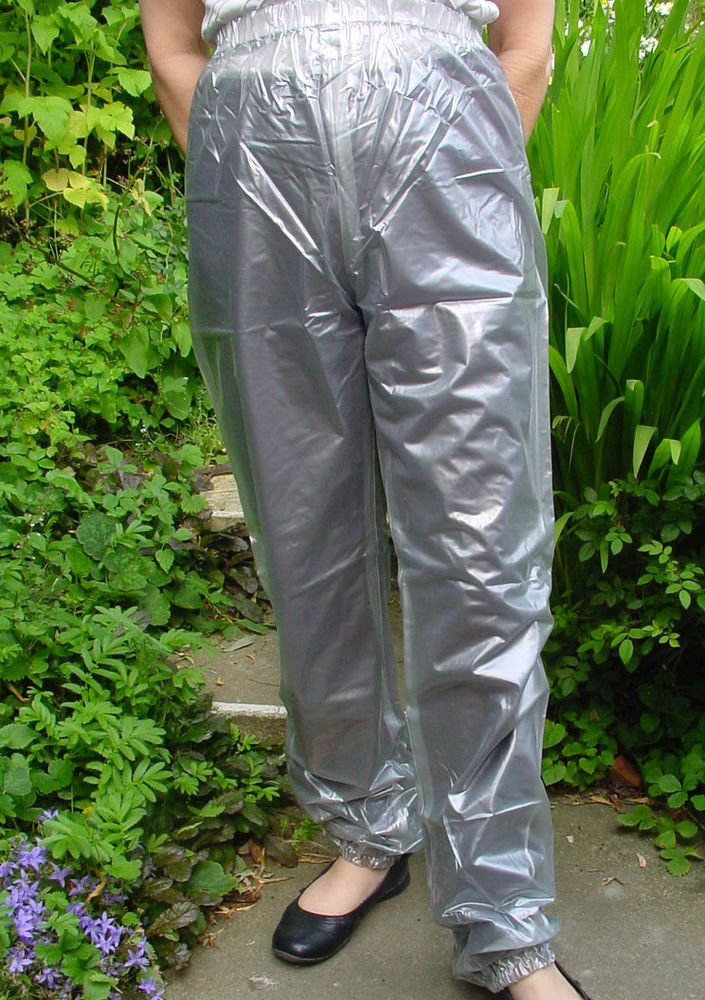 PVC OVERTROUSERS WATERPROOF RAINWEAR SEMI TRANSPARENT XL UNISEX DESIGN B5C
