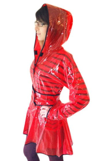 QUALITY LADIES PVC RAINCOAT JACKET MAC RAIN 40'S STYLE COAT RED LARGE FR18
