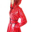 QUALITY LADIES PVC RAINCOAT JACKET MAC RAIN 40'S STYLE COAT RED MEDIUM FR18