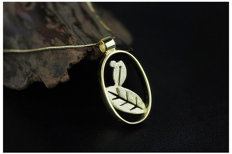 Gold Plated over Sterling Silver 0.925 Leaf Pendant for Chain Necklace