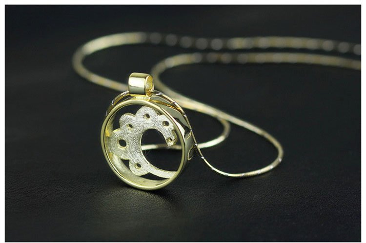Gold Plated over Sterling Silver 0.925 Flower Pendant for Chain Necklace