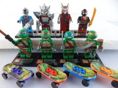 Set of 8 Ninja Turtles Building Block Toys with Weapons Skateboards TMNT