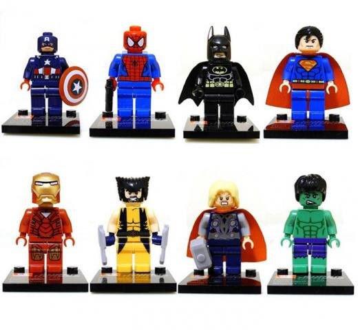 Set of 8 Super Hero Minifigures Building Block Toys Hulk Batman Spiderman Thor