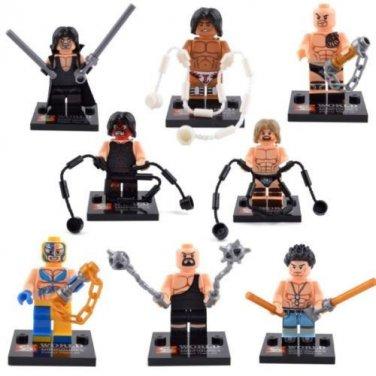 Set of 8 Wrestling Minifigures Building Block Toys WWE Kane Undertaker Rock