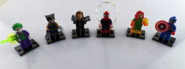 Set of 6 Super Hero Minifigures Building Block Toys Wolverine Joker Spiderman
