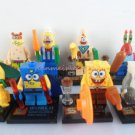 Set of 8 Spongebob Minifigures with accessories cards Patrick Sandy Mr Crab