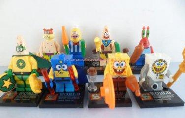 Set of 8 Spongebob Minifigures with accessories cards Patrick Sandy Mr Crab