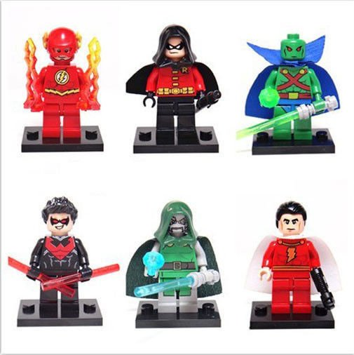 Set of 6 Super Hero Minifigures with accessories cards Flash Robin Shazam